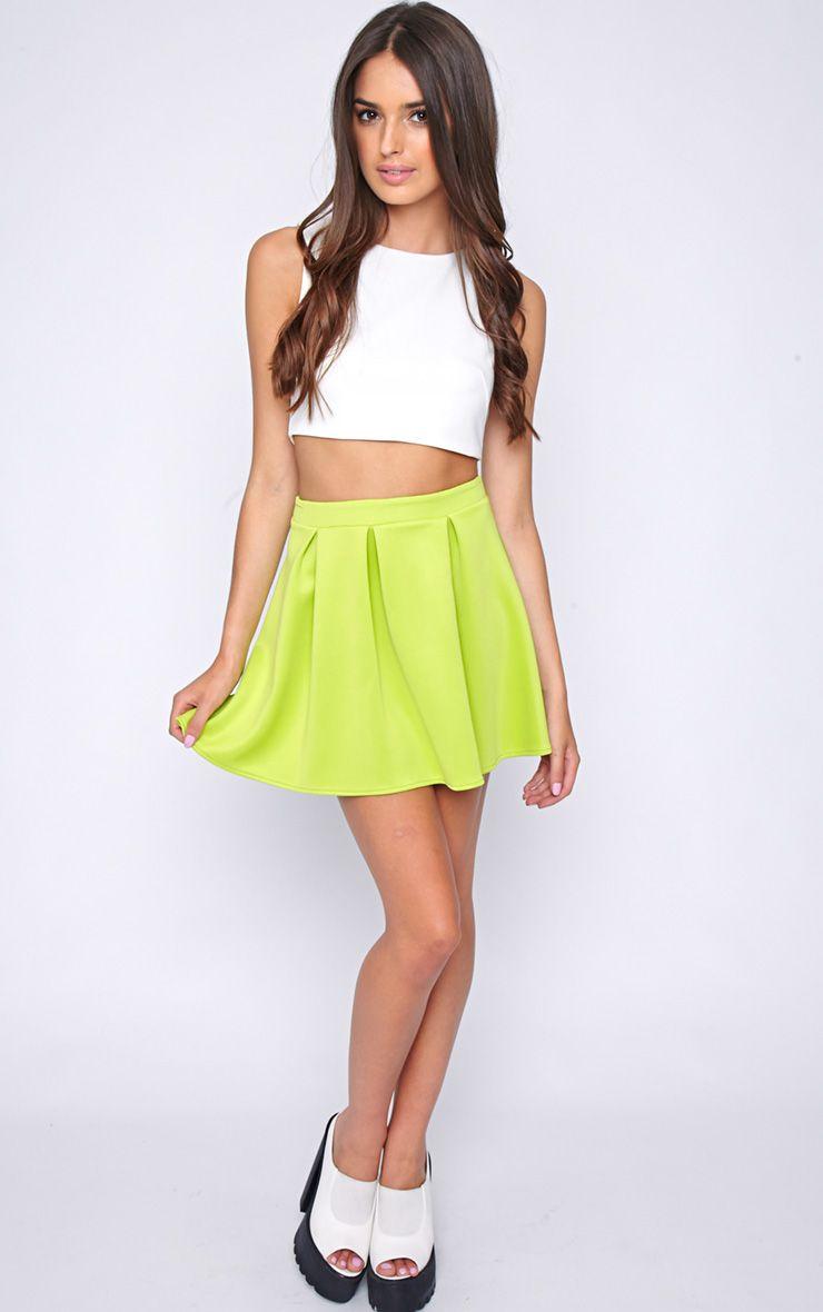 Matisse Lime Skater Skirt  1