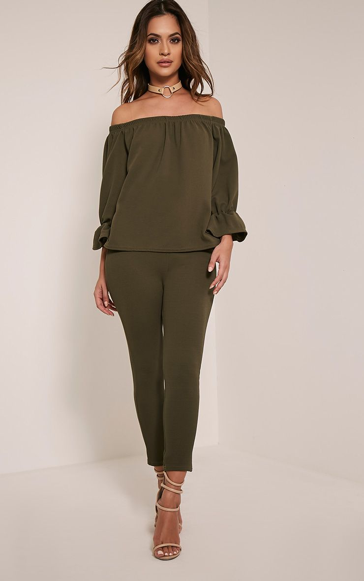 Evalyn Khaki Cropped Trousers