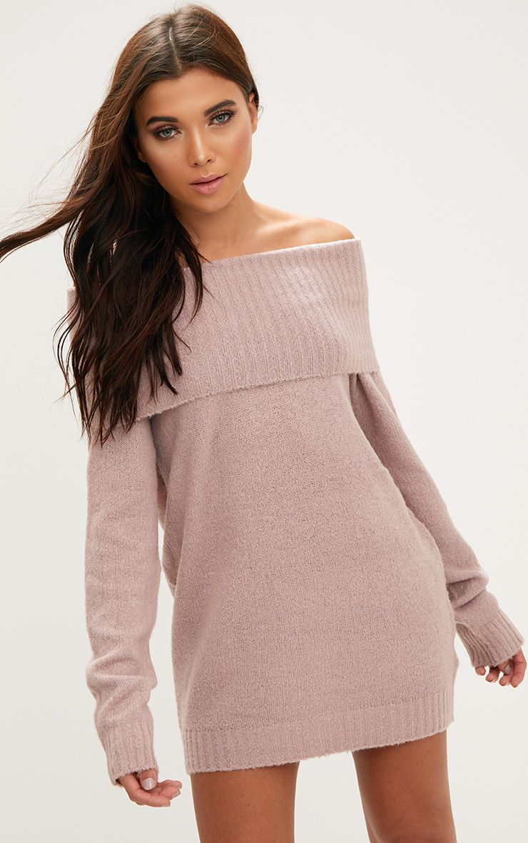 Blush Oversized Bardot Jumper Dress