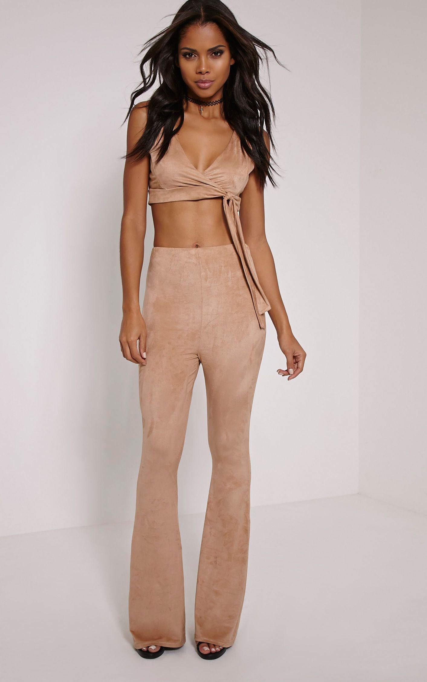 Sloan Dark Tan Faux Suede Flared Trousers 1