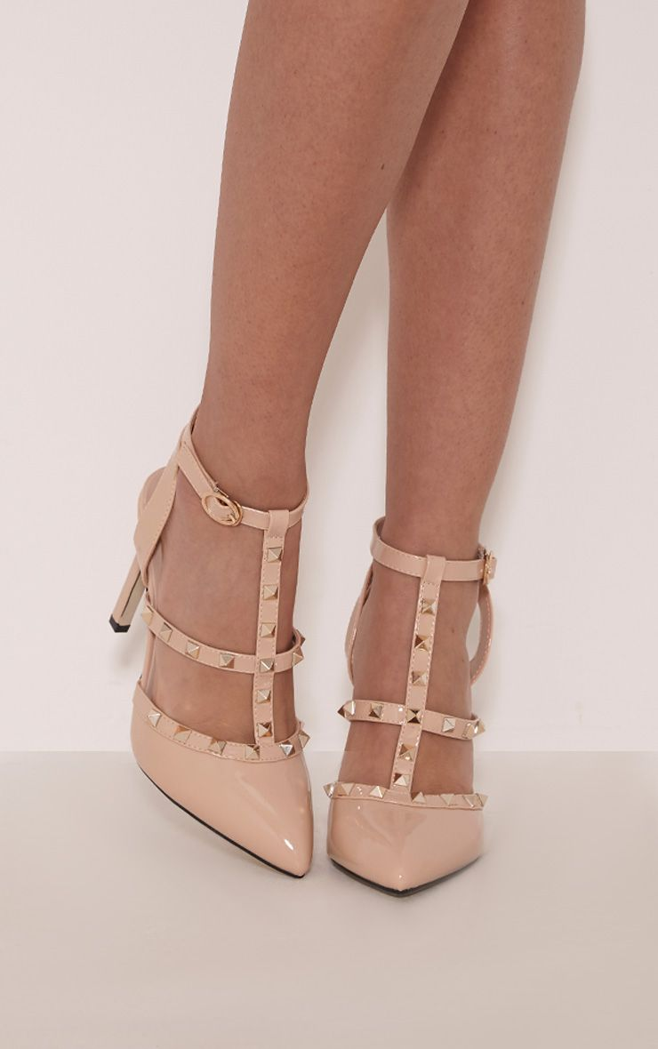 eloisa nude patent pointed studded heels - high heels