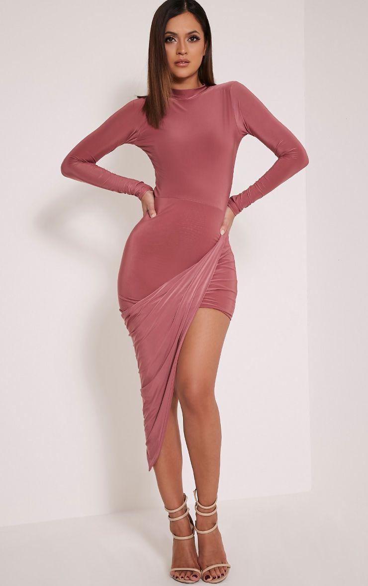 Petite Saffy Rose Long Sleeve Drape Dress 1