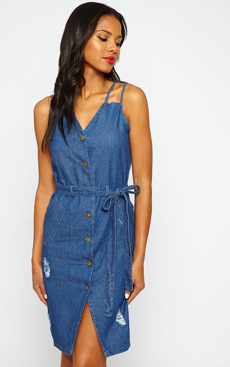 Elnora Blue Denim Midi Dress 1