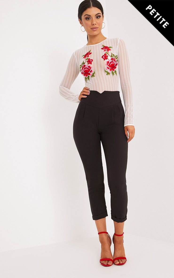 Petite Black High Waisted Tapered Trousers