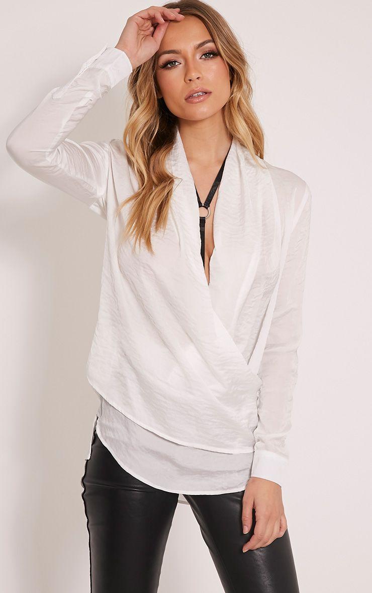 Lizzie White Satin Wrap Shirt 1