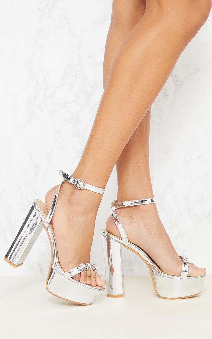 Silver Jewel Platform Heel