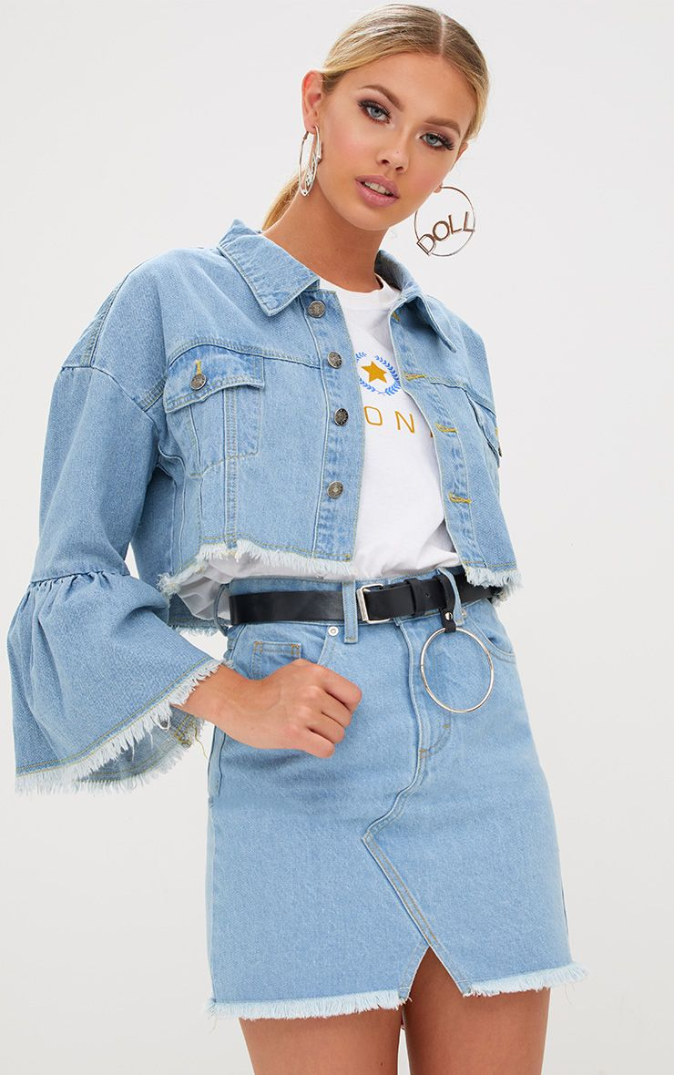 Light Wash Flare Sleeved Cropped Denim Jacket