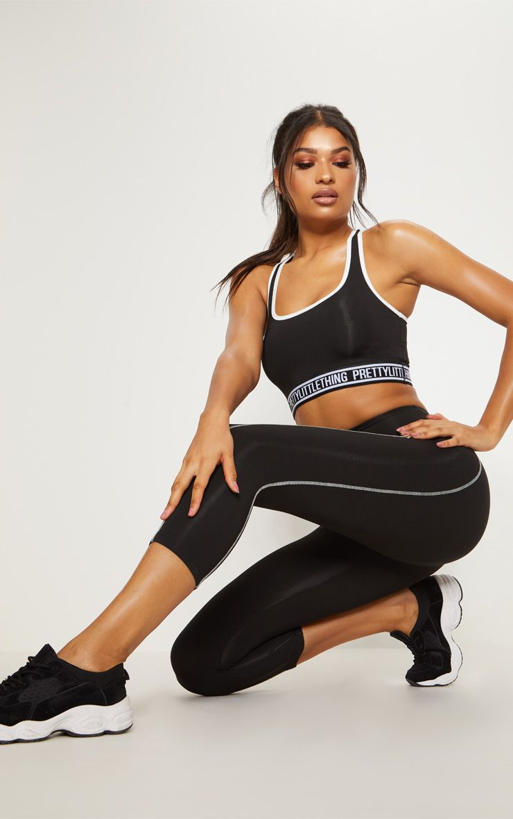 Black Contrast Sports 3/4 Leggings