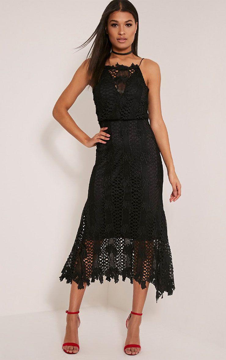 Reeya Black Lace Midaxi Dress