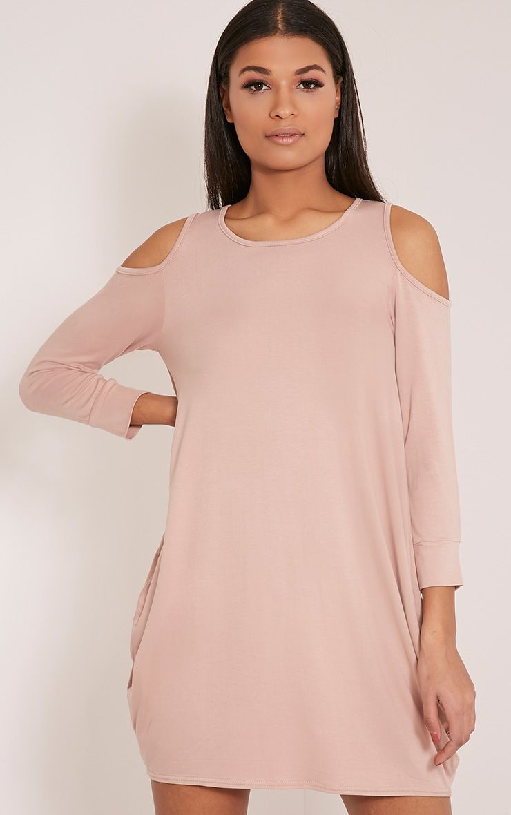 Bronwyn Taupe Cut Out Shoulder Dress 1