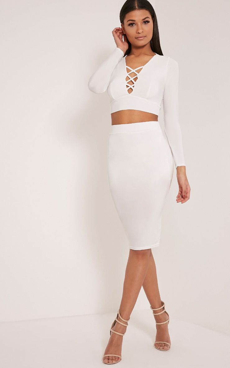 Malin Cream Slinky Midi Skirt 1