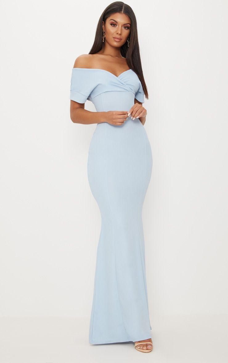 Dusty Blue Off The Shoulder Plunge Maxi Dress