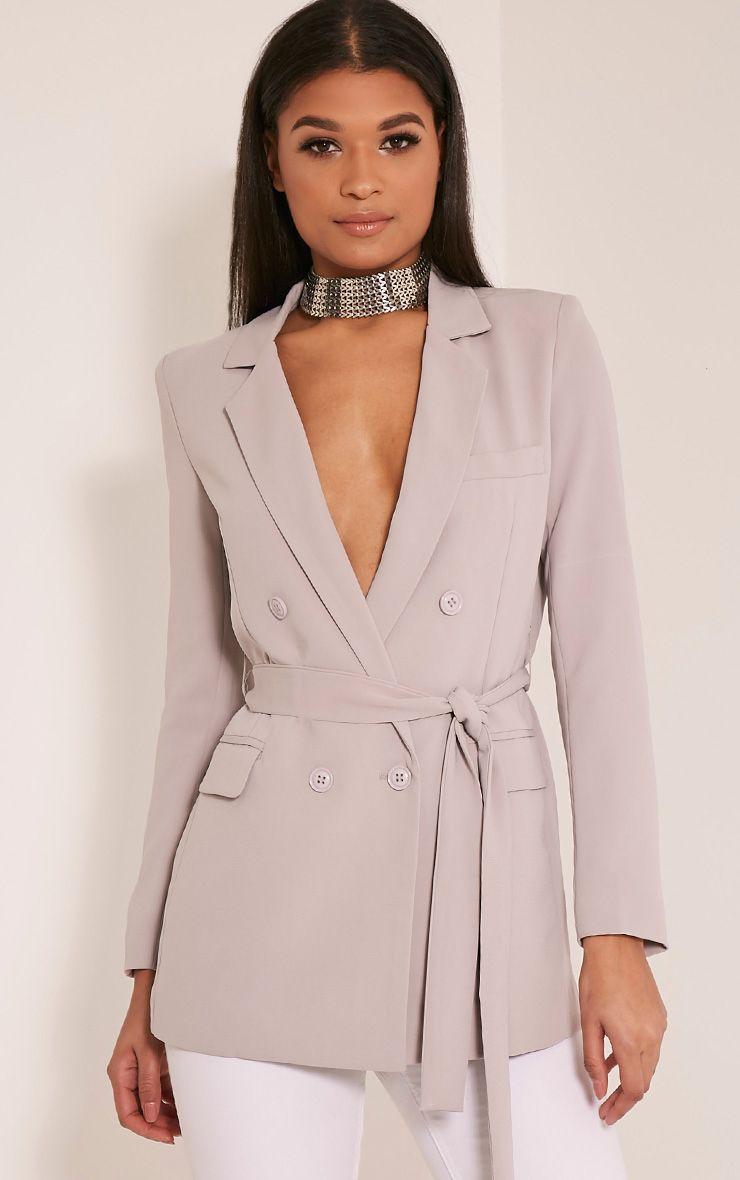 Rebecca Light Grey Belted Blazer