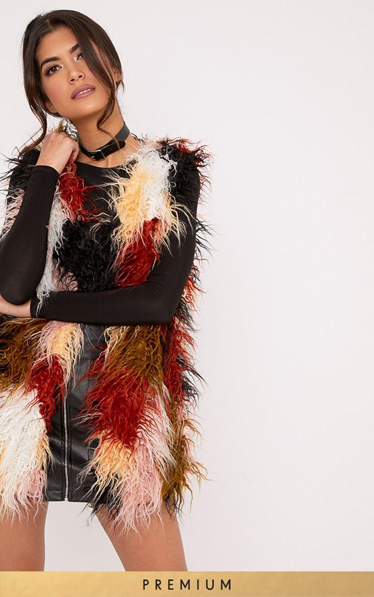 Elodie Multi Premium Shaggy Faux Fur Gilet