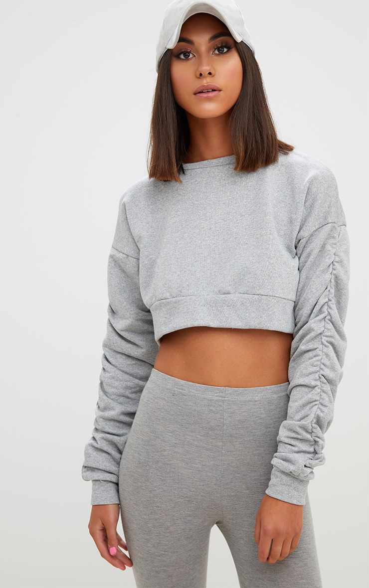 Grey Ruched Sleeve Oversized Cropped Sweater