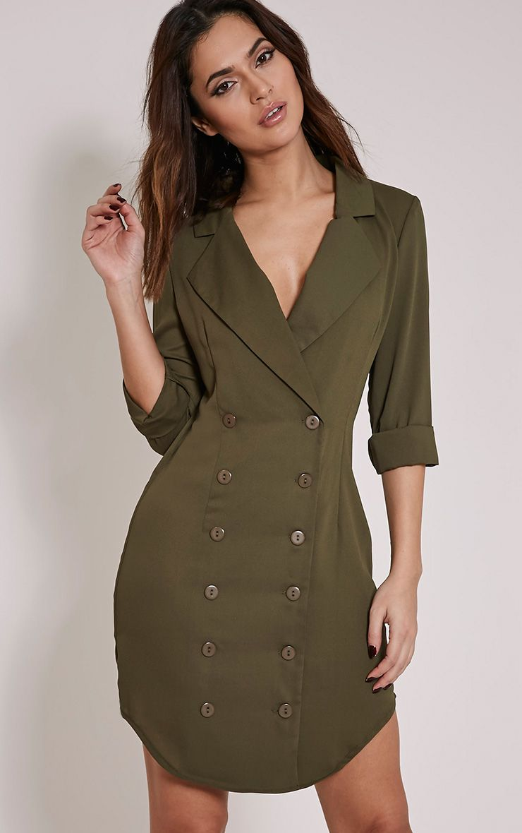 Lucah Khaki Double Breasted Blazer Dress 1