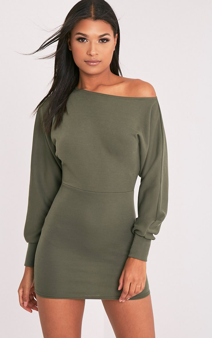 Narlie Khaki Off The Shoulder Sweater Dress 1