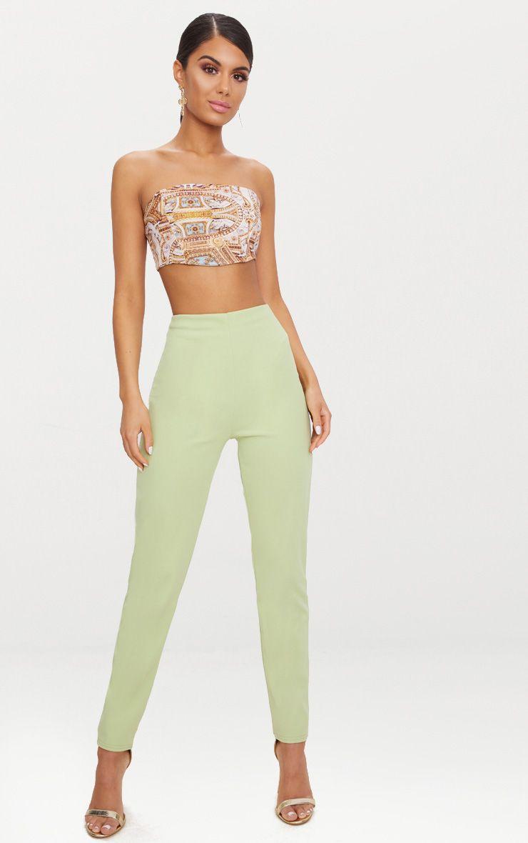 Sage Green Slim Leg Crepe Trousers