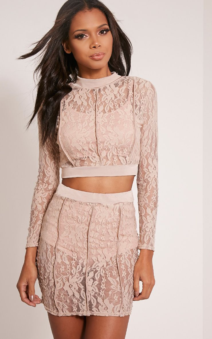 Oliviana Taupe Sheer Lace Crop Top 1