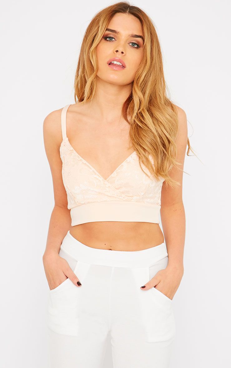 Mia Nude Lace Wrap Front Bralet  1