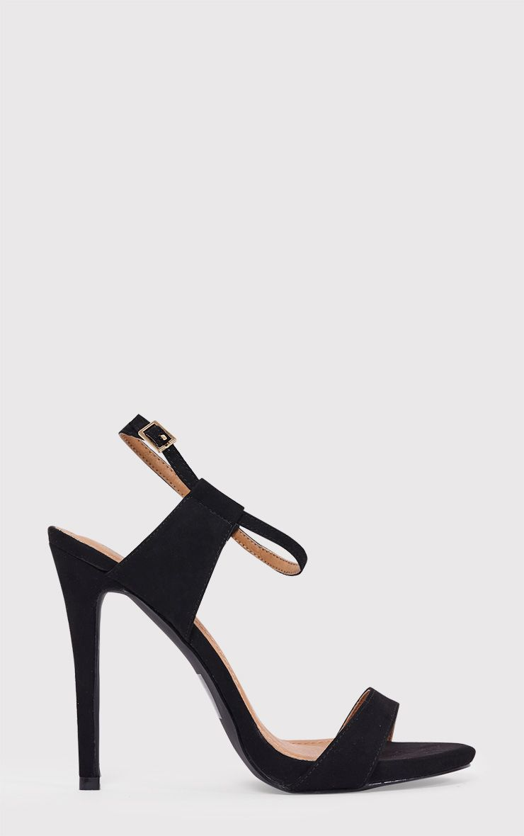 Lolah Black Faux Suede Strappy Stilleto Sandals