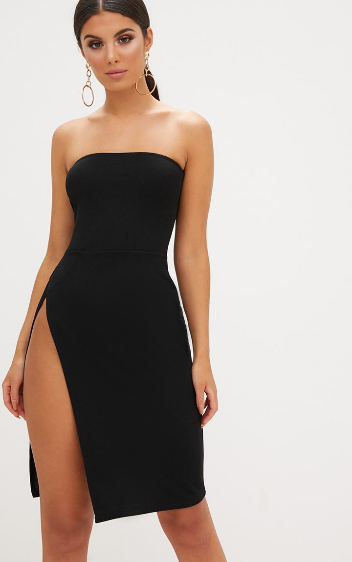 Black Extreme Split Bandeau Midi Dress