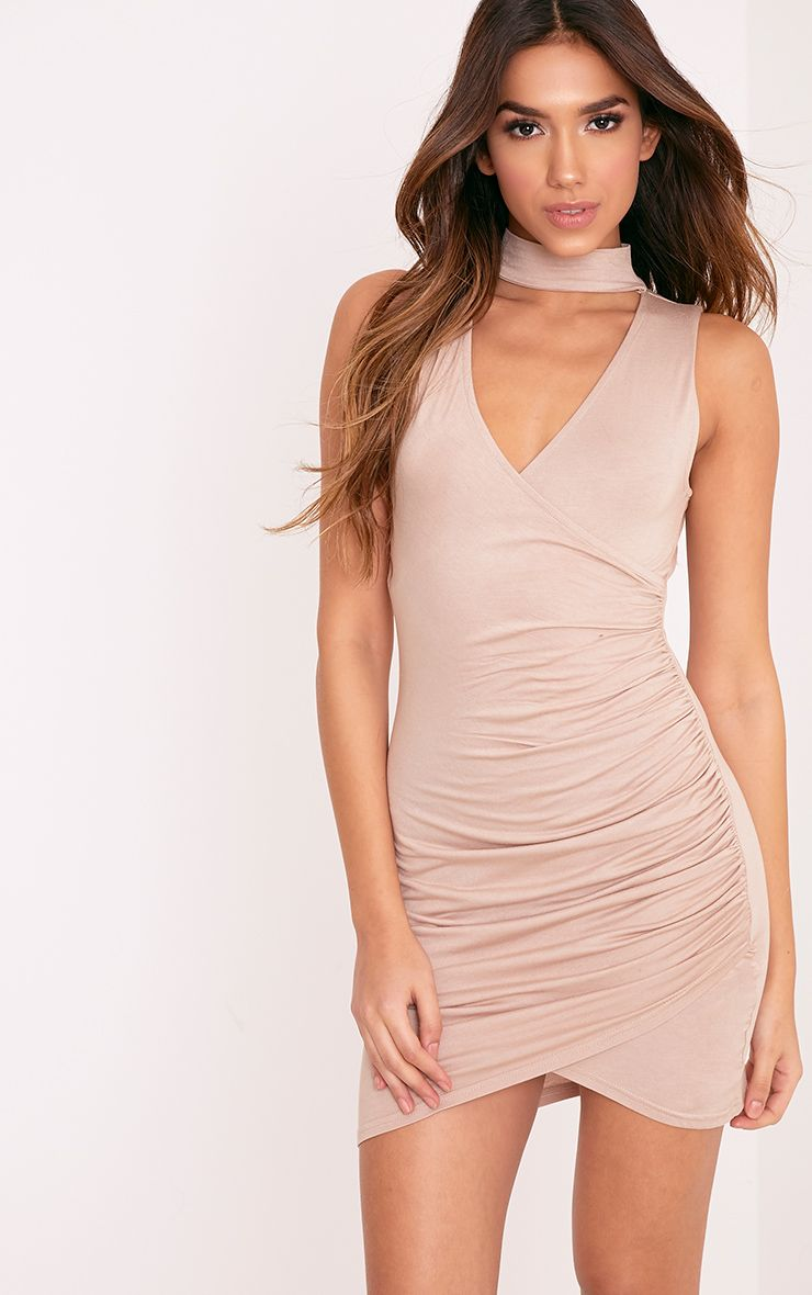 Amaris Nude Choker Detail Ruched Bodycon Dress