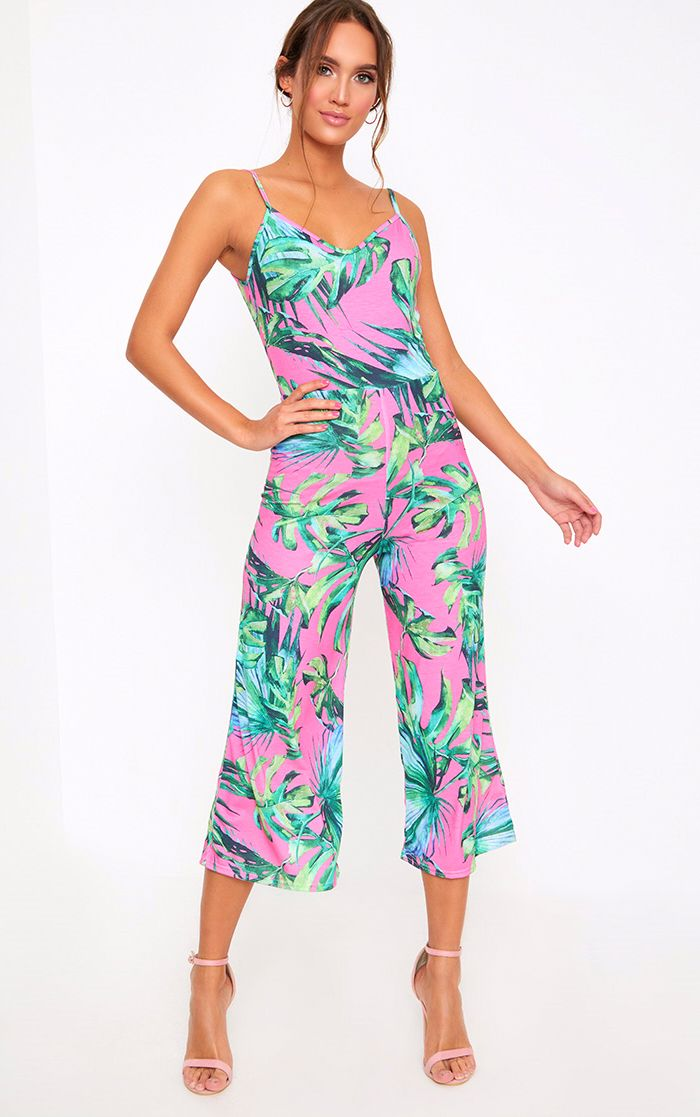 Kailyn Printed Jersey Culotte Jumpsuit