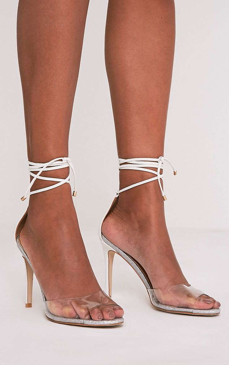Maylie White Glitter Sole Lace Up Sandals