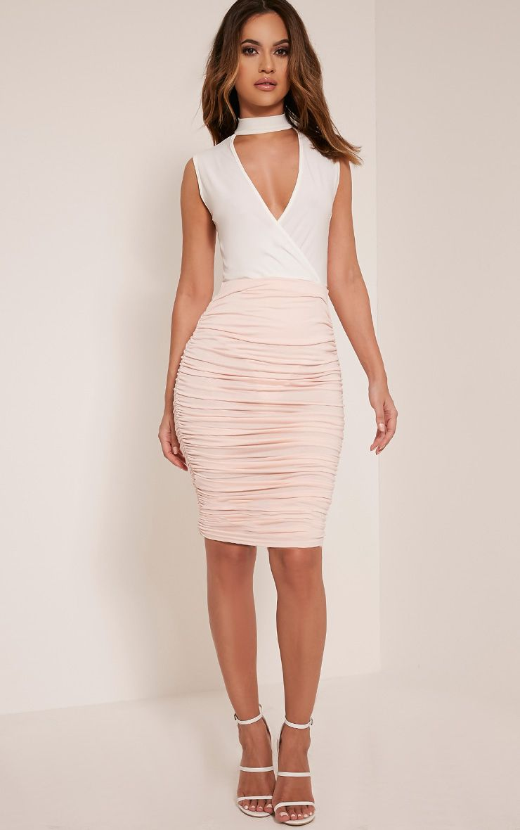 Katerina Nude Ruched Side Midi Skirt 1