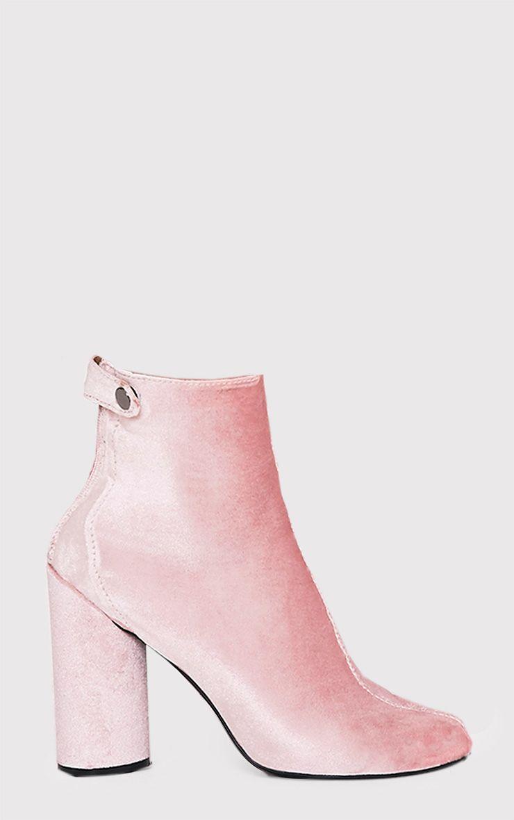 Amie Blush Velvet Heeled Ankle Boots