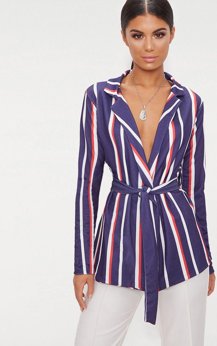Navy Stripe Belted Blazer