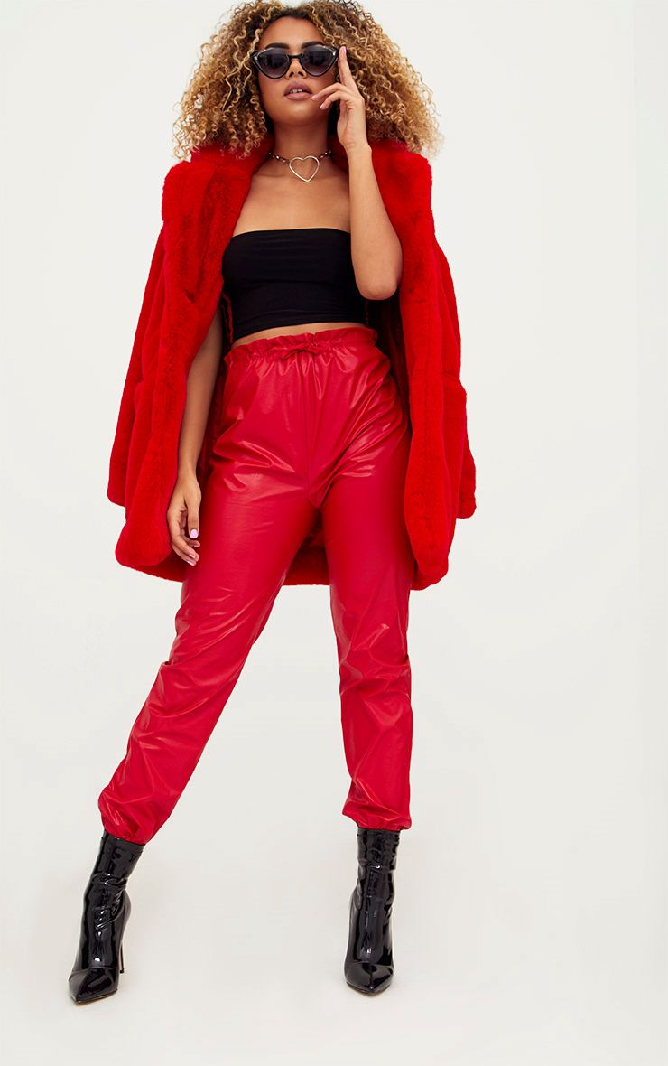 Red Faux Leather Paperbag Joggers