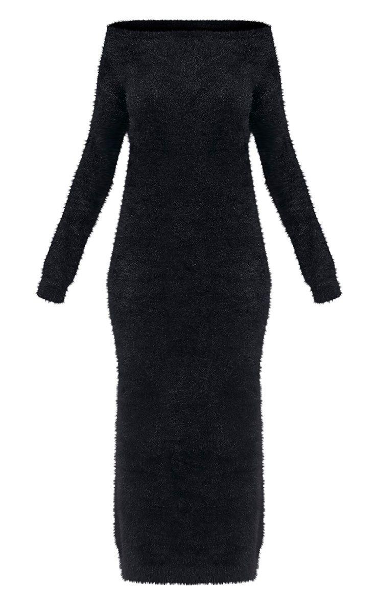 Idelle robe maxi en maille duveteuse noire 4