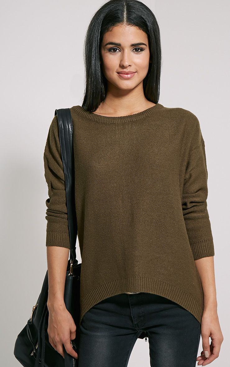 Amia Olive Zip Back Jumper 1
