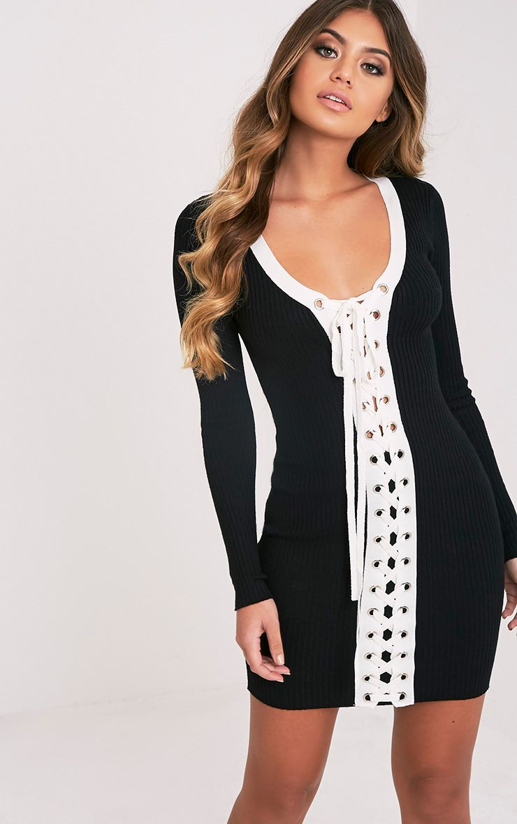 Product photo of Pandra black knitted tie ribbed mini dress black