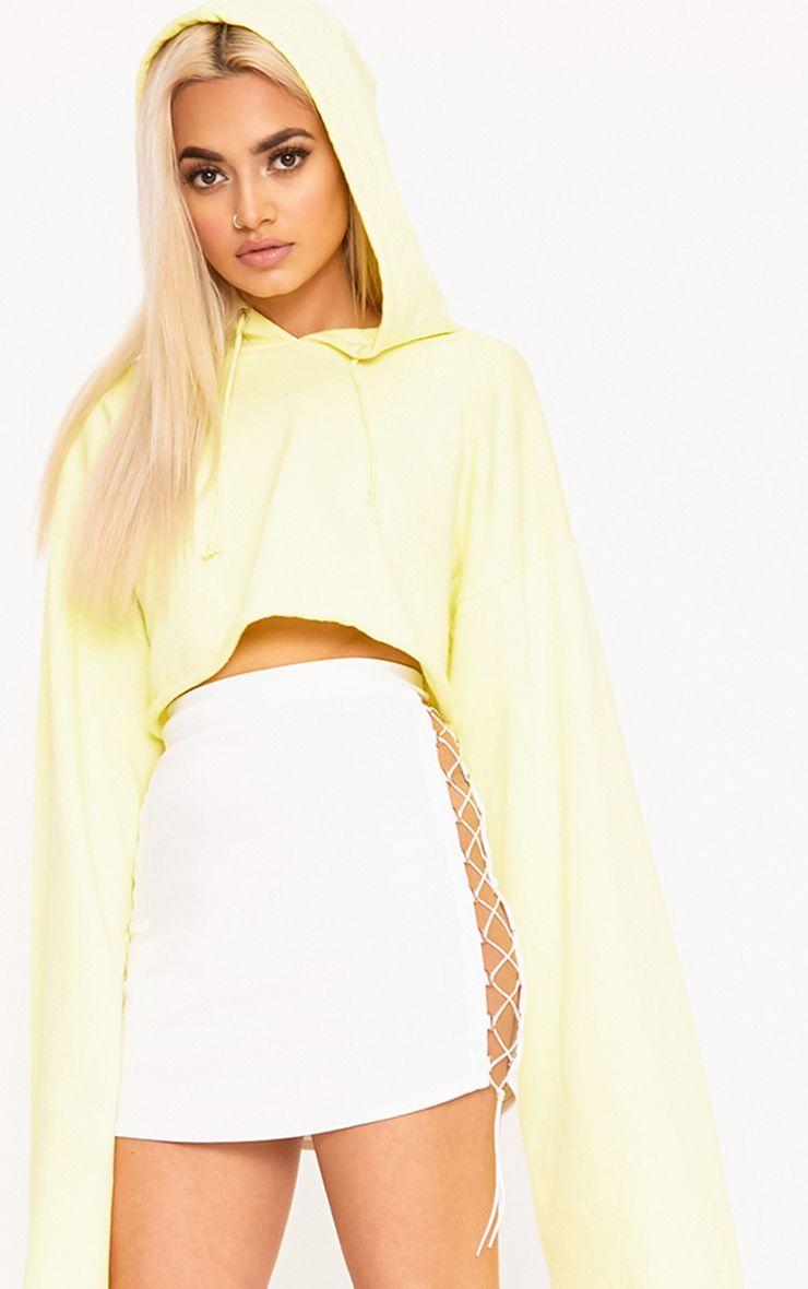 White Side Lace Up Mini Skirt