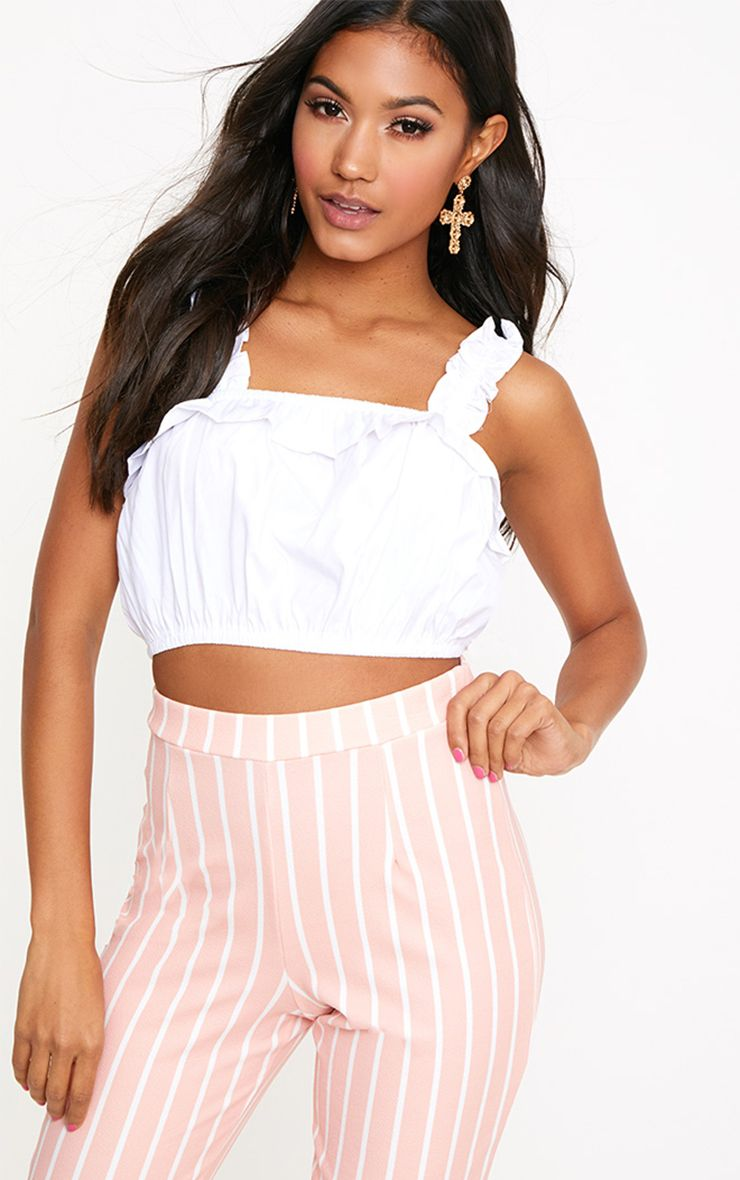 White Frill Crop Top