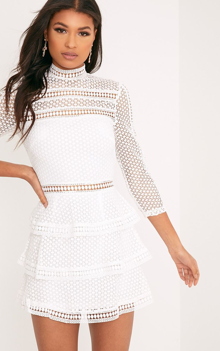 Caya White Lace Panel Tiered Mini Dress