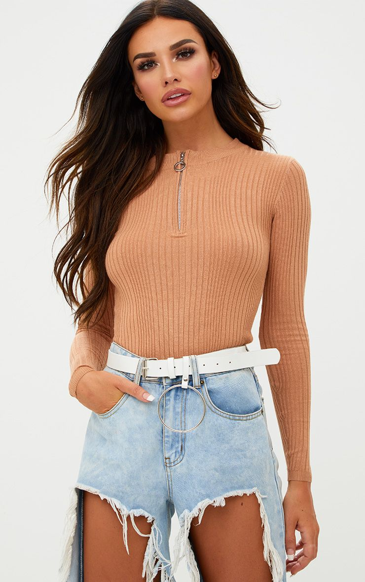 Peach Rib Zip Detail Jumper