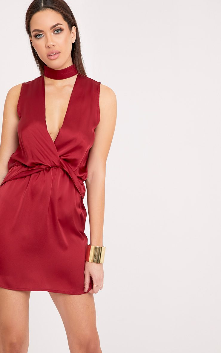 Kaitlyn Burgundy Satin Choker Twist Front Shift Dress