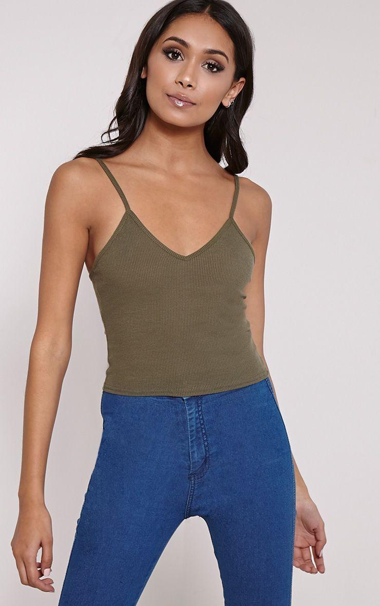 Basic Khaki Strap V-Neck Vest Top