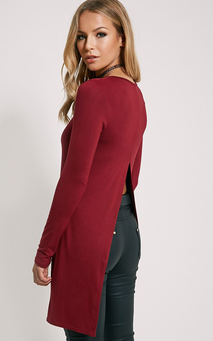 Eldora Burgundy Longline Split Back Top 1