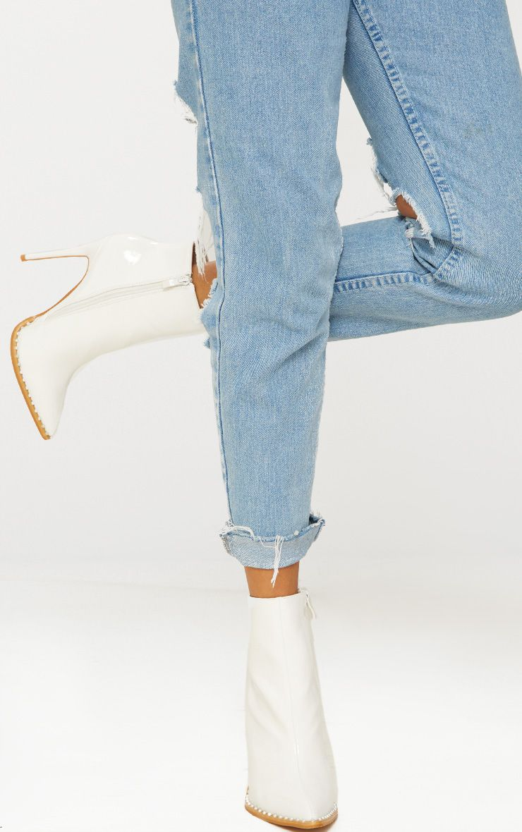 White Pearl Embellished Ankle Boot