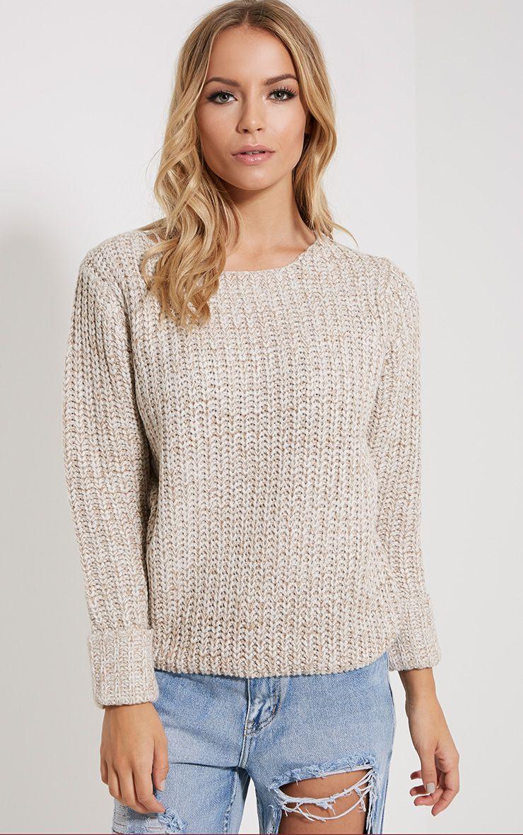 Eda Stone Chunky Knitted Jumper 1