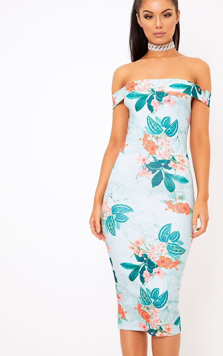 Dusty Blue Taniya Floral Bardot Midi Dress