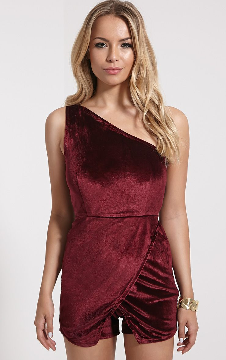 Mishka Burgundy Velvet Playsuit 1