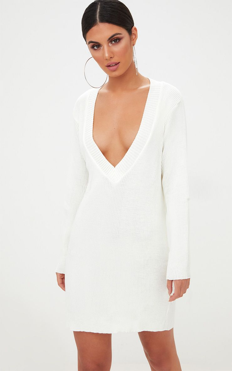 Cream V Neck Jumper Dress
