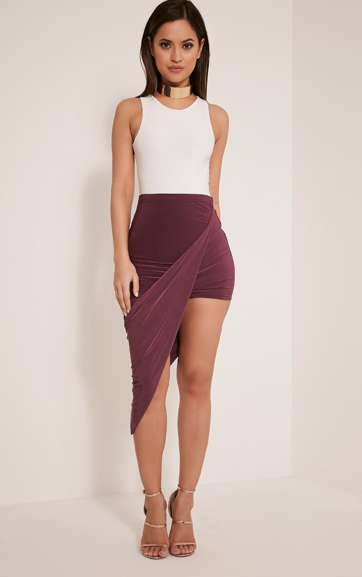 Alba Aubergine Slinky Drape Skirt 1