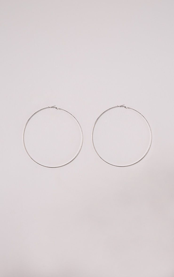 Hina Silver Flat Edged Large Hoops 1